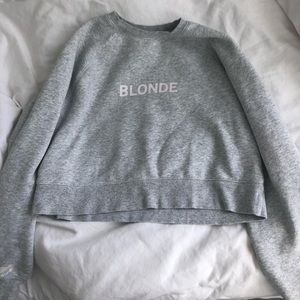 "Brunette the label ""blonde"" cropped crew neck"